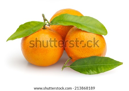Three tangerines isolated on white background  - stock photo