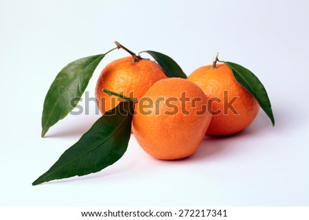 three tangerines with leaves on white background. Selective focus - stock photo