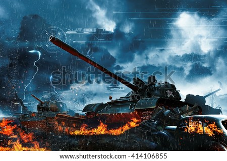 Three tanks in the rain forest - stock photo