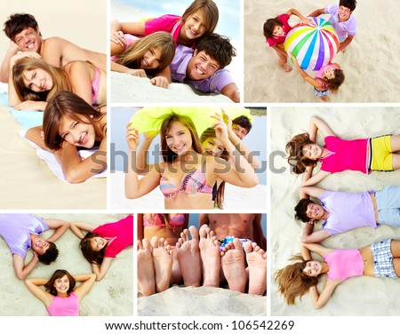 Three tanned teens spending time together on the beach - stock photo
