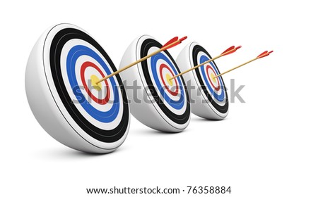Three targets hit with Bull's-Eye shot on white background - stock photo
