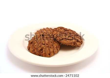 Three tasty chocolate fudge cookies on a white china plate, selective focus - stock photo
