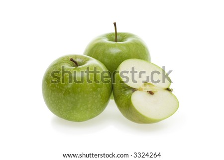 Three tasty green apples isolated on white background. - stock photo