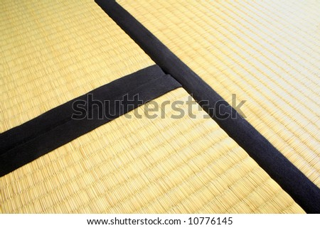 Three Tatami mats. Thick and heavy tatami mats like these, measuring each 90cm x 180cm traditionally cover the floor in Japanese houses. They are made from rice straw. - stock photo