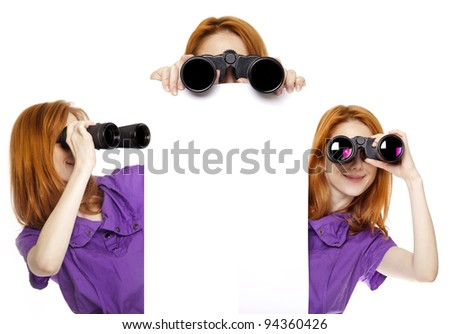 Three teen redhead girls with binoculars isolated on white background - stock photo