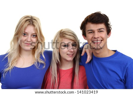 Three teenage friends together, isolated against a white background