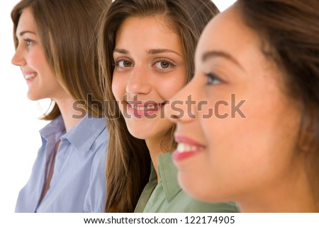 three teenage girls - stock photo