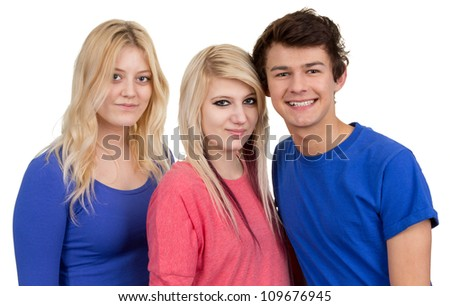 Three teenagers together as a group, isolated on white