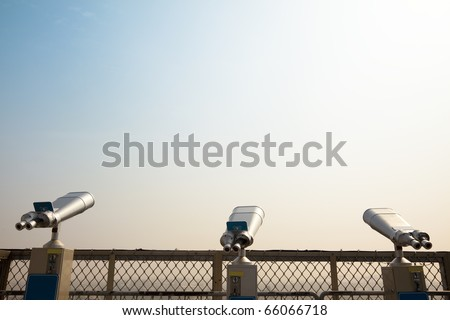Three Telescope on the roof and looking to the sky - stock photo