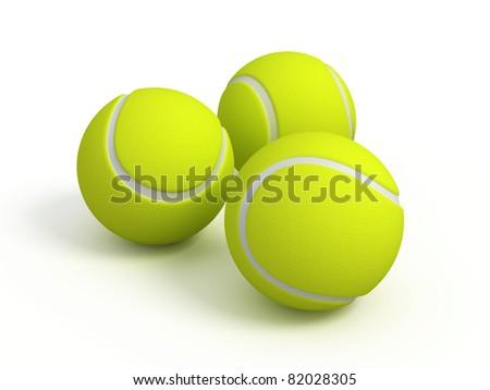 Three tennis balls on white background - stock photo
