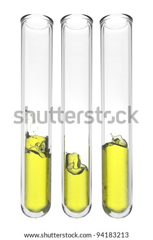 three testtubes with wavy yellow liquids on white background