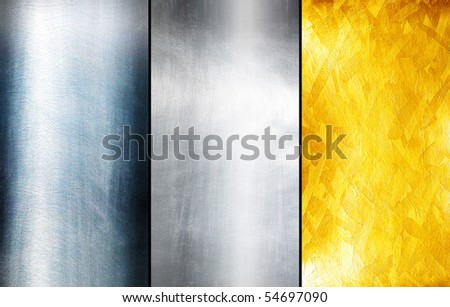 Three texture metal - stock photo