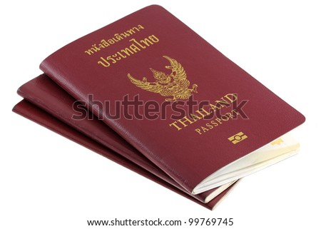 Three Thai electronic passports issued by a government in Thailand, travel object isolated on white background