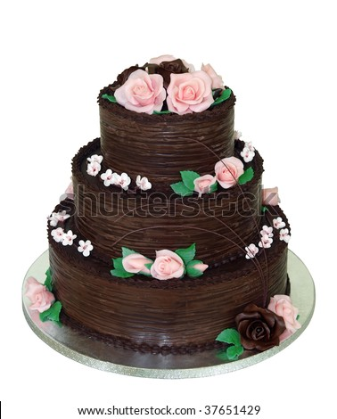 Three Tiered Chocolate Cake isolated with clipping path - stock photo