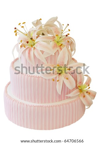 Three Tiered Iced Cake with Icing Orchid Decoration isolated with clipping path - stock photo