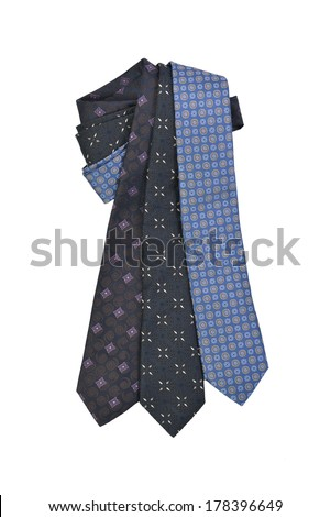 three ties on white background  - stock photo