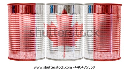 Three tin cans with the flag of Canada on them isolated on a white background. - stock photo
