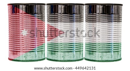 Three tin cans with the flag of Jordan on them isolated on a white background.