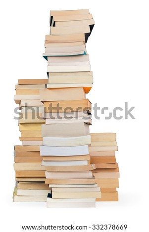 three towers of books on white background