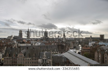 Three towers of Ghent - stock photo