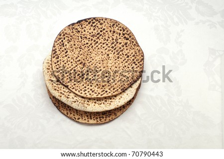 Three traditionally matzas eaten at the passover seder - stock photo