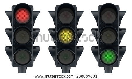 Three traffic lights icon (done in 3d, isolated)  - stock photo