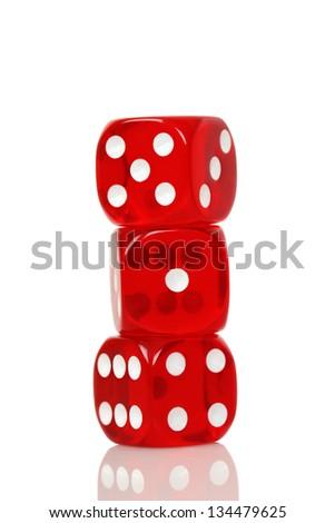 three transparent dice on white - stock photo