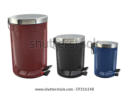 Three  trash cans in white background - stock photo