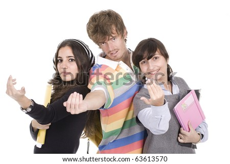 three trendy teenager students, high school love , studio shot, white background