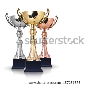 Three trophies, gold, silver and bronze isolated on white background - stock photo