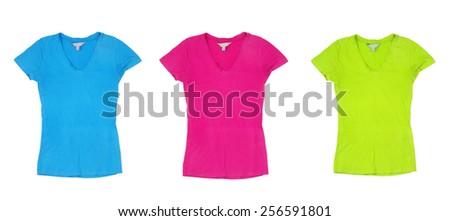 three tshirts on the white - stock photo