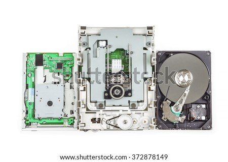 Three types of a computer storage devices: floppy, cd-rom and hard drive,  white isolated - stock photo