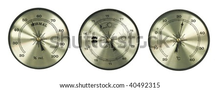 three types of meter (thermometer hygrometer barometer) isolated on white background - stock photo
