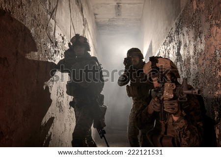 Three U.S. Marines involved in the raid. Special operation to rescue the hostages. - stock photo