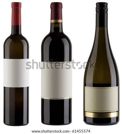 Three unlabeled wine bottles isolated with clipping path - stock photo