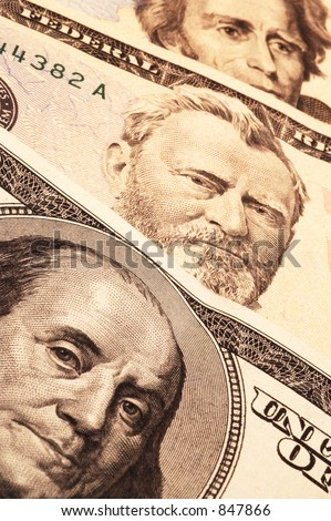 three usa presidential portraits on money focus on franklin fading to andrew jackson macro