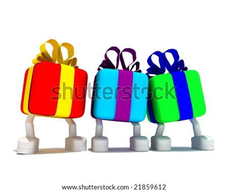 three varicolored gifts cost on white background