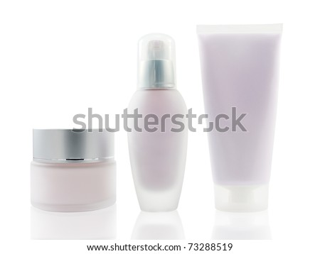 Three various blank cosmetic containers with reflections on white background