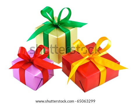 Three various gift wrapped presents isolated on white - stock photo