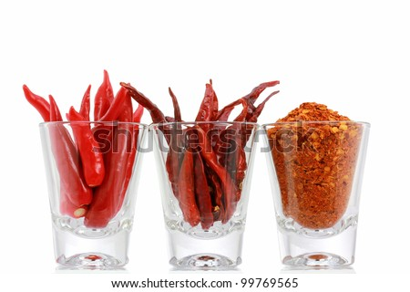 Three versions of Red Pepper : Fresh Chili, Dried Chili and Chili Powder in a glass, isolated on white background - stock photo