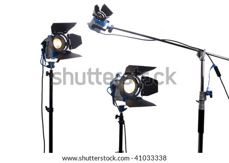 Three  video or movie lamps isolated on white - stock photo