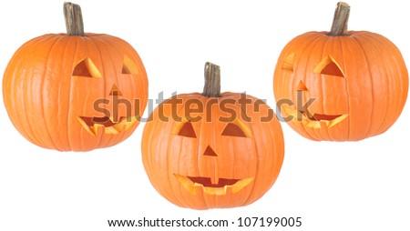 three views of a traditional Halloween Jackolantern, isolated on white - stock photo
