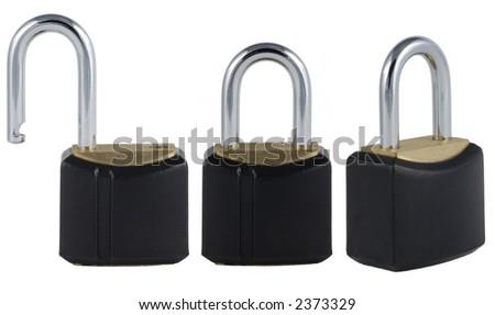 Three views on padlock: open and closed - stock photo
