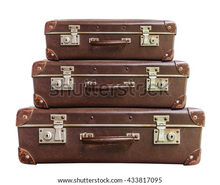 Three vintage brown suitcase on white background