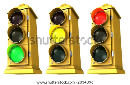 Three vintage downtown traffic light on white background showing Green, Yellow & Red. - stock photo