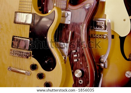 Three vintage electric guitars. - stock photo