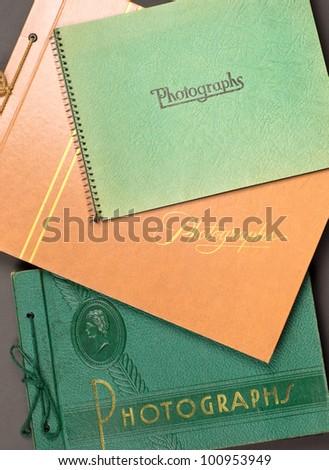 Three vintage photograph albums. - stock photo