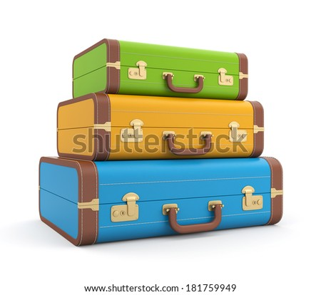 Three vintage suitcase - stock photo