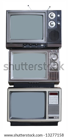 Three Vintage TVs - vertical stack - stock photo