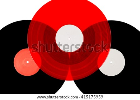 Three vinyl disc on a white isolated background - stock photo